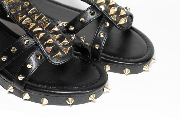 Kelly Studded Sandal (Black)