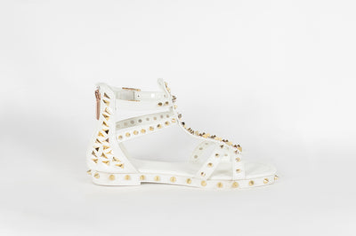 Kelly Studded Sandal (White)