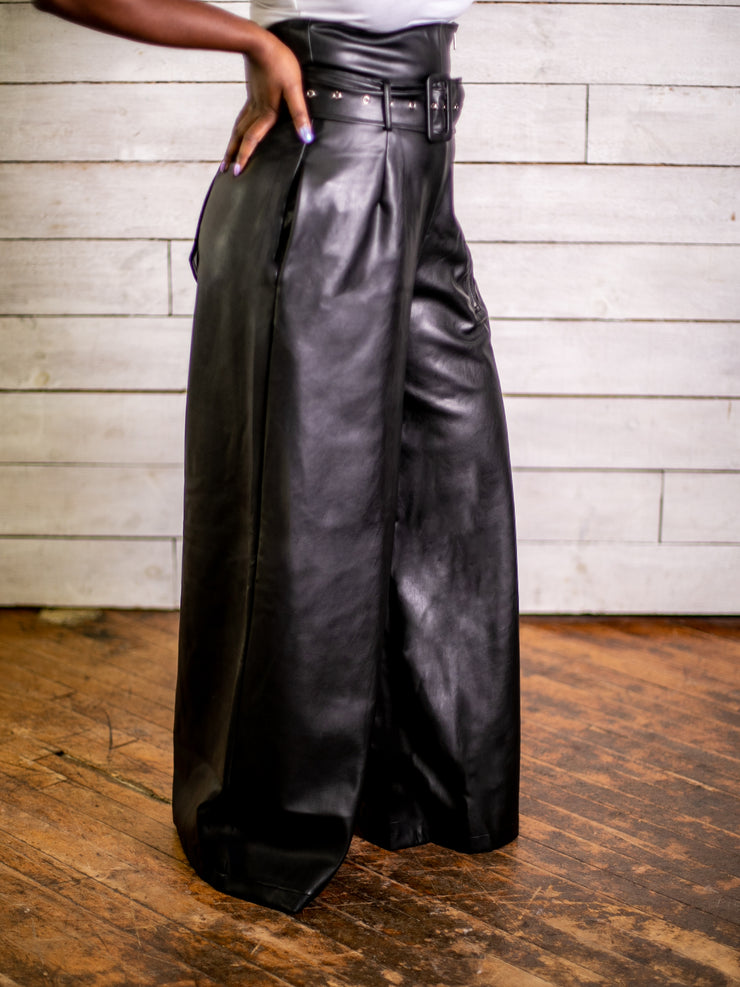 Watch My Waist High Waist Leatherette Pants (Black)