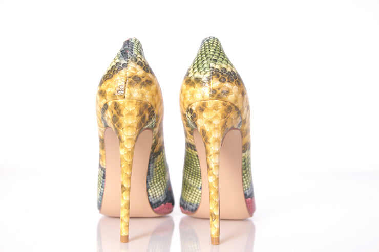 Selena- Yellow Snake skin pumps and clutch set