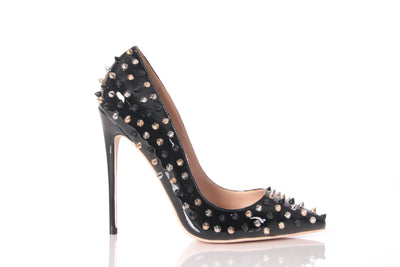 Fatima Studded Pointed Toe Pump (Black)