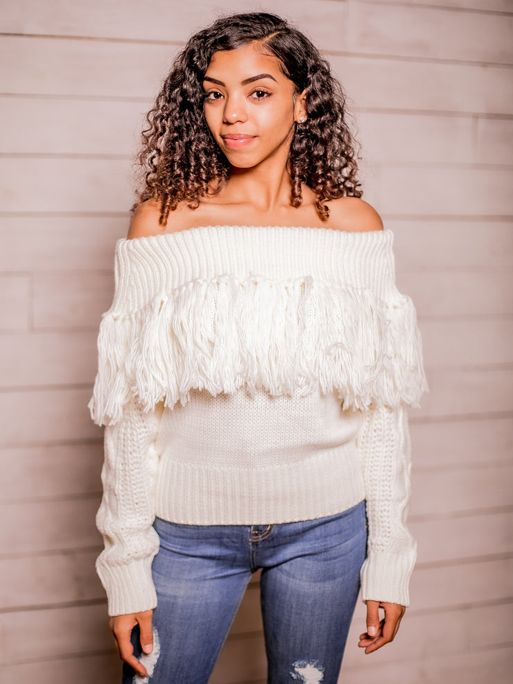 Sweater Weather Off Shoulder Sweater (Cream)