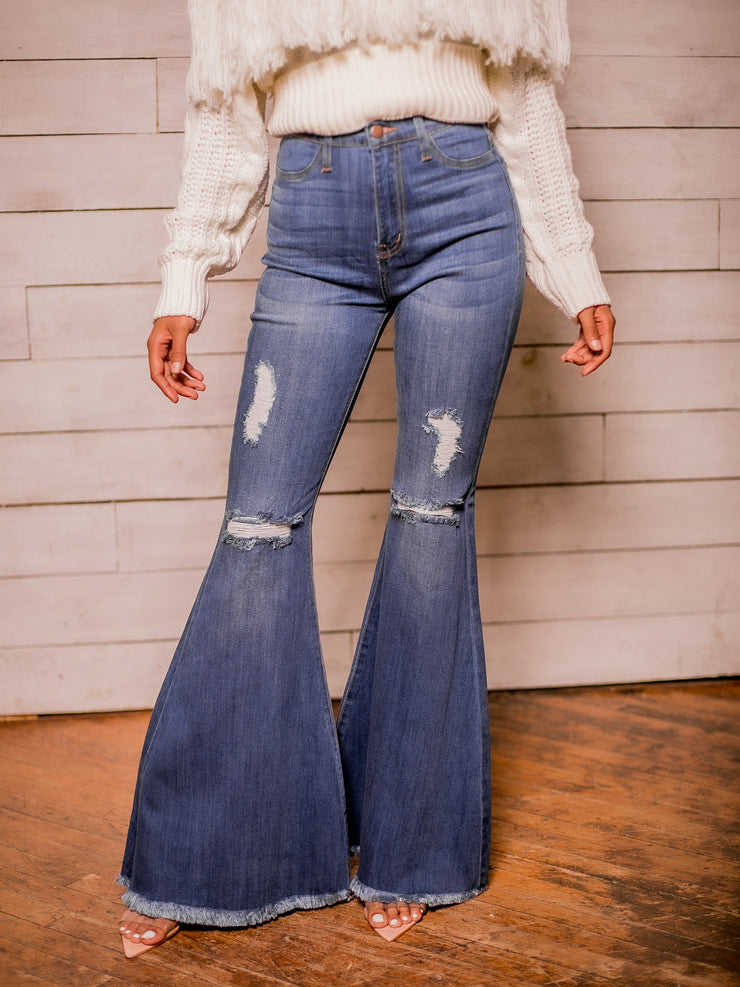 Flare Denim Jeans (Blue)