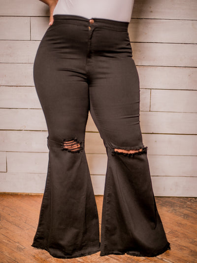 Flare Denim Jeans (Black) Curvy