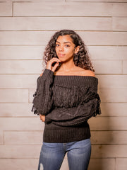 Sweater Weather Off Shoulder Sweater (Black)
