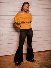Sweater Weather Off Shoulder Sweater (Mustard)