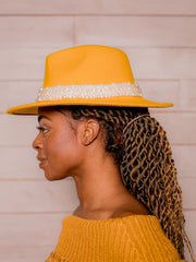 Diva Pearls Large Brim Fedora (Yellow)
