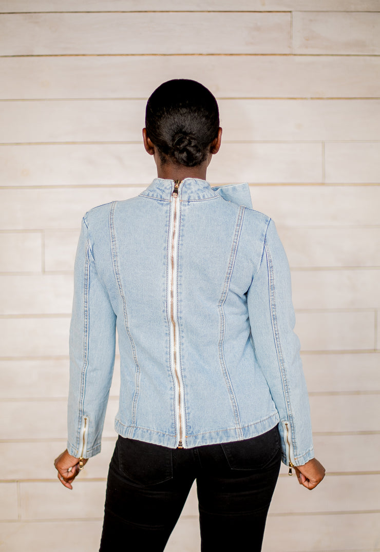 Always Over Dressed Bow Denim Blouse