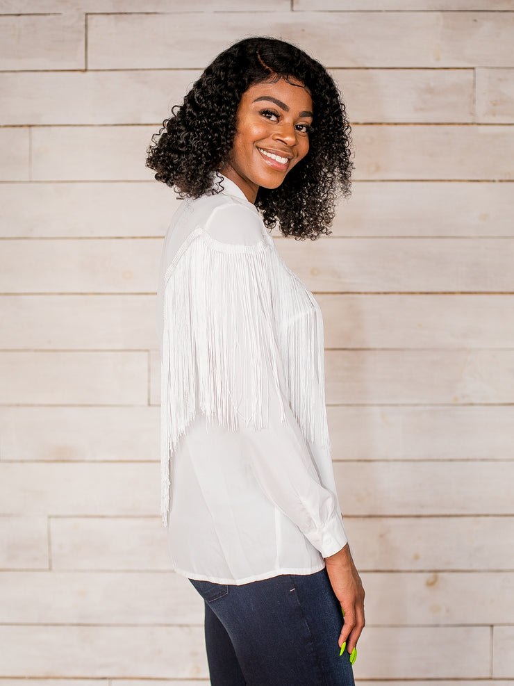 For The Love of Fringe Button Down Top