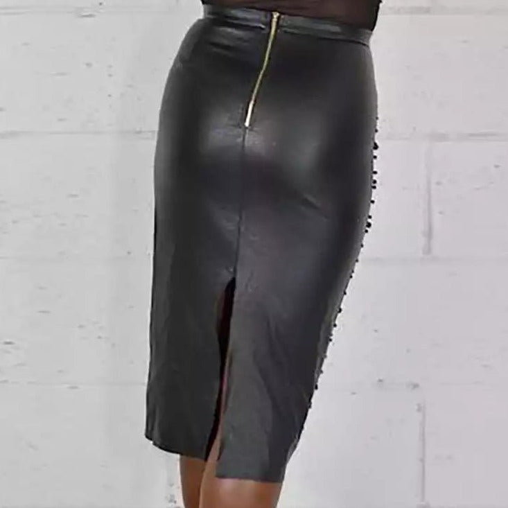 Beyond Basic Studded Pencil Skirt - Black