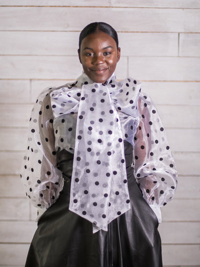 Scene Setter Oversized Bow Polka Dot Top (White)