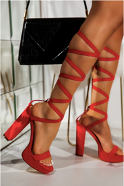 Alyssa Strappy Platform Heels - Red