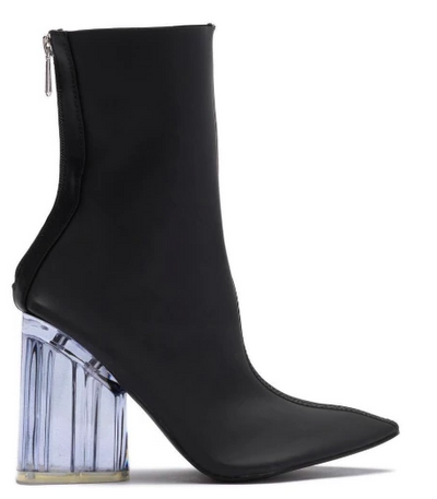 Elisa- Transparent Ankle Booties (Black) - FINAL SALE