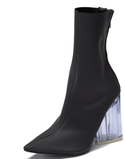 Elisa- Transparent Ankle Booties (Black)