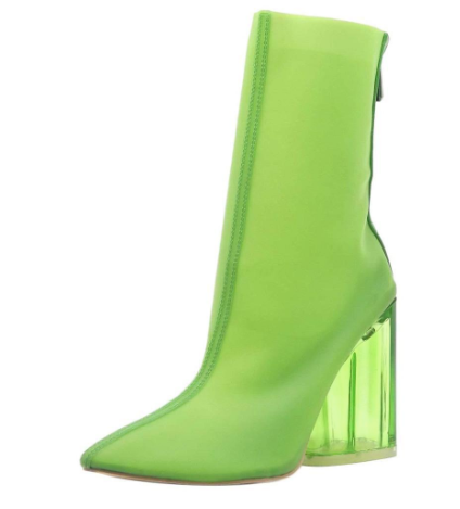 Elisa- Transparent Ankle Booties (Lime) - FINAL SALE