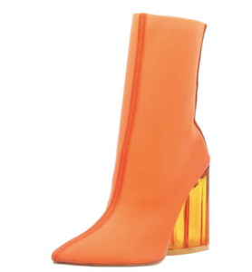 Elisa- Transparent Ankle Booties (Orange)