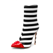 Tessa - Striped Pointed Toe Bootie with Red Tip