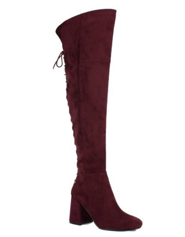 Mariah Over the Knee Block Heel Boot (Wine)- FINAL SALE