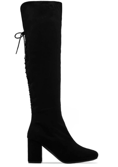 Mariah Over the Knee Block Heel Boot (Black)