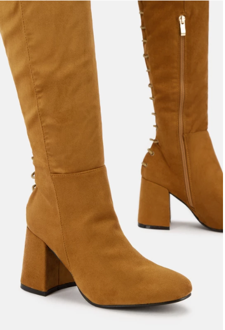 Mariah Over the Knee Block Heel Boot (Tan) - FINAL SALE