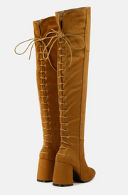 Mariah Over the Knee Block Heel Boot (Tan)