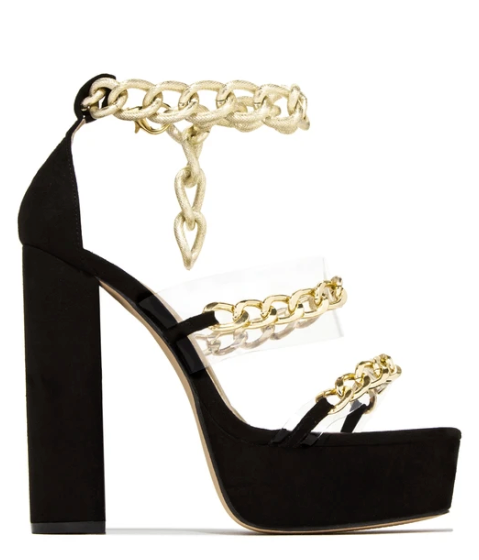 Kyra Chained Platform Sandals (Black)