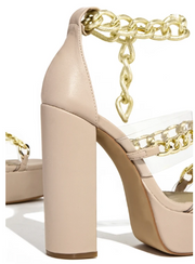 Kyra Chained Platform Sandals (Nude)