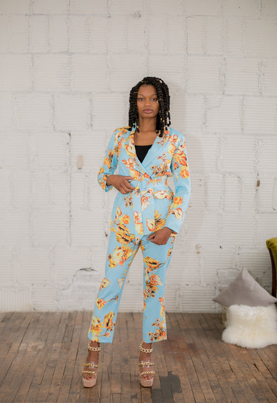 Blue Floral Suit Set