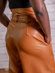 Watch My Waist High Waist Leatherette Pants (Caramel)
