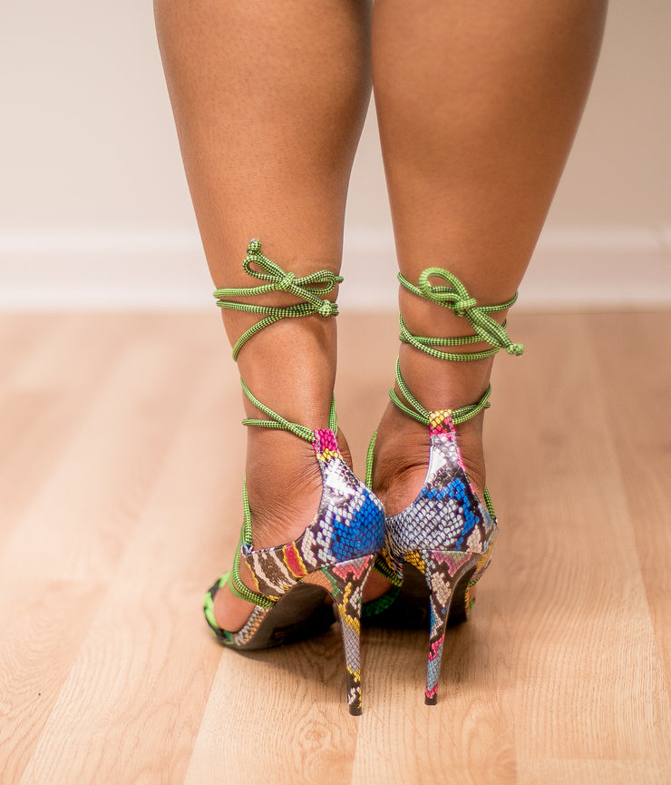Kimmie Lace Up Heel (Multi Snake) FINAL SALE