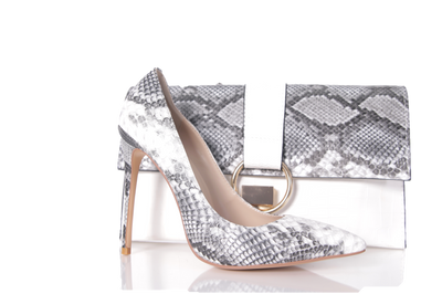 Selena- Grey Snake skin pumps and clutch set