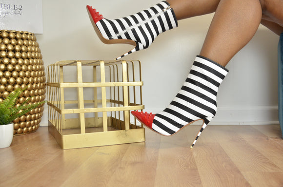 Tessa - Striped Pointed Toe Bootie with Red Tip (Pre Order)