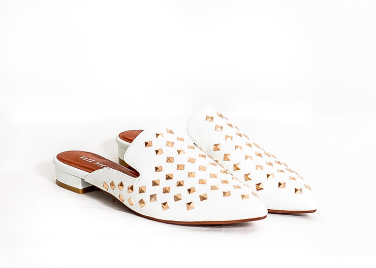 Diva Studded Slide in Flats (White)