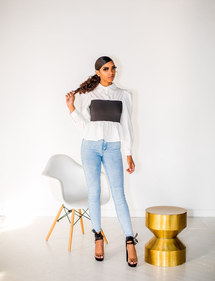 Simple Color Block Peplum Blouse -Curve