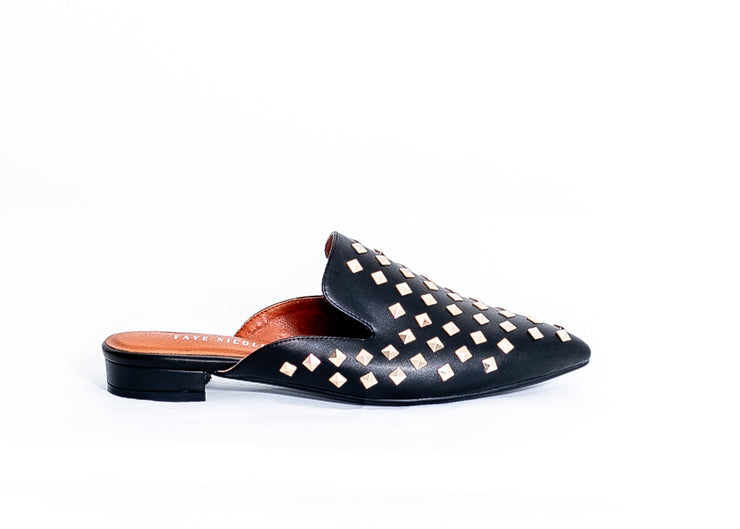 Diva Studded Slide in Flats (Black)