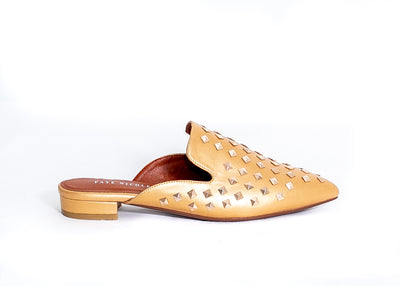 Diva Studded Slide in Flats (Gold)