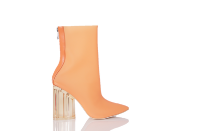 Elisa- Transparent Ankle Booties (Orange) - FINAL SALE