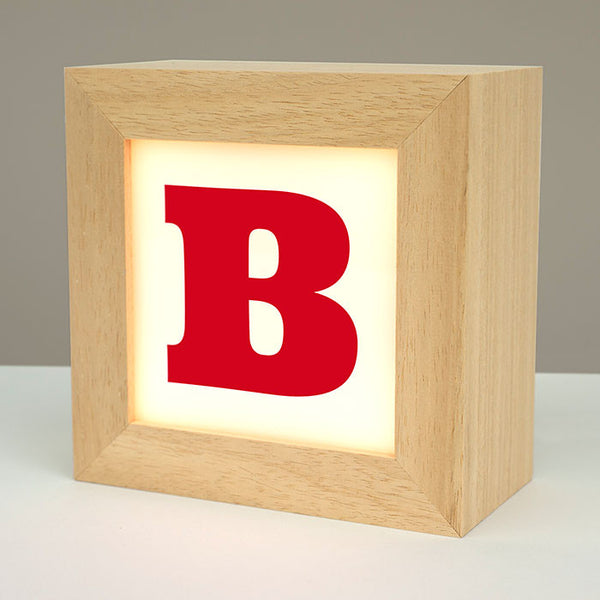 letter B solid wooden lightbox