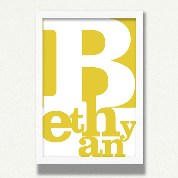 name print in yellow, childs bedroom wall art