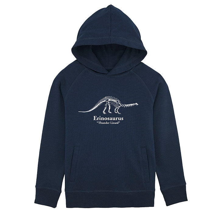 A kids navy hooded sweatshirt with a white brontosaurus skeleton printed on the front and personalised with their dinosaur name