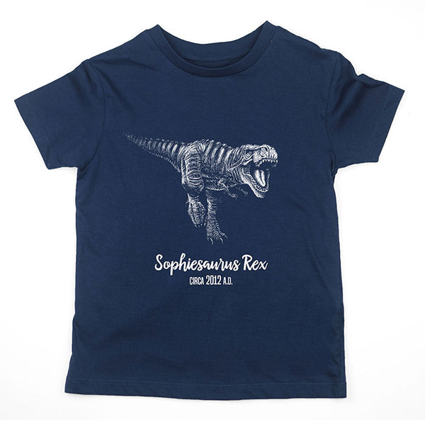 T-Rex t-shirt featuring t-rex dinosaur design personalised with kids dinosaur name