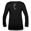 Ethereum Women's Long Sleeve  V-Neck Flowy Tee - black