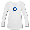 Digibyte Women's Long Sleeve  V-Neck Flowy Tee - white