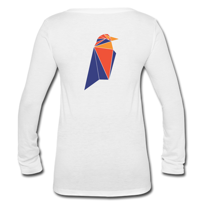 Ravencoin Women's Long Sleeve  V-Neck Flowy Tee - white