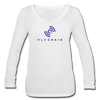 QLC Chain Women's Long Sleeve  V-Neck Flowy Tee - white