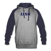 Lisk Colorblock Hooded Pull-Over Sweater - heather gray/navy