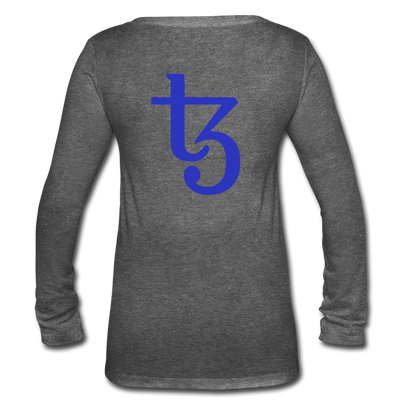 Tezos Women's Long Sleeve  V-Neck Flowy Tee - deep heather