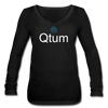 Qtum Women's Long Sleeve  V-Neck Flowy Tee - black