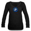 Digibyte Women's Long Sleeve  V-Neck Flowy Tee - black