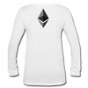 Ethereum Women's Long Sleeve  V-Neck Flowy Tee - white